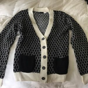 Urban outfitters black and cream cardigan